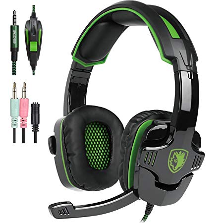 SADES PS4 Gaming Headphone SA930 3.5MM Stereo Surround Lightweight Gaming Headset with Microphone Volume Control for PC/MAC/PS4/Smartphone/Tablets (Black+Green)