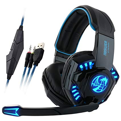 [2016 New Version] TIRIN PlayStation 4 PS4 I8 LED 3.5mm Stereo Gaming LED Lighting Over-Ear Headphone Headset with Mic for PC Computer Game & Volume Control Blue & Black with 2 - 1 Connector