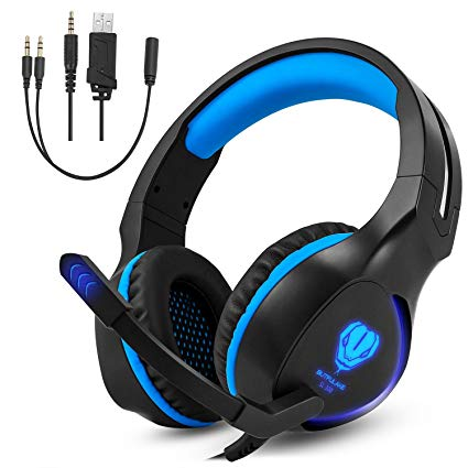 TurnRaise Gaming Headset with Mic for PS4 PC XBOX Mac Laptop, Unique Design Light Weight USB LED Light Noise Reduction