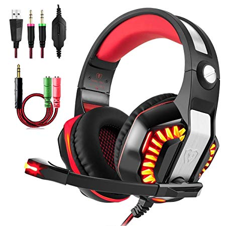Gaming Headset, Beexcellent GM-2 Over-ear Stereo Bass Wired Hi-Fi Gaming Headphones USB&3.5mm Noise Reduction with Microphone & LED Light for Laptop, Xbox, PS4, PC, Computer-Red